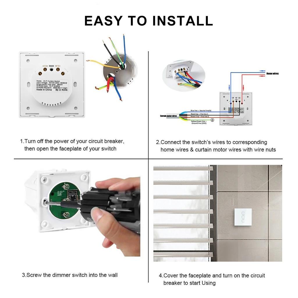 tuya curtain switch install